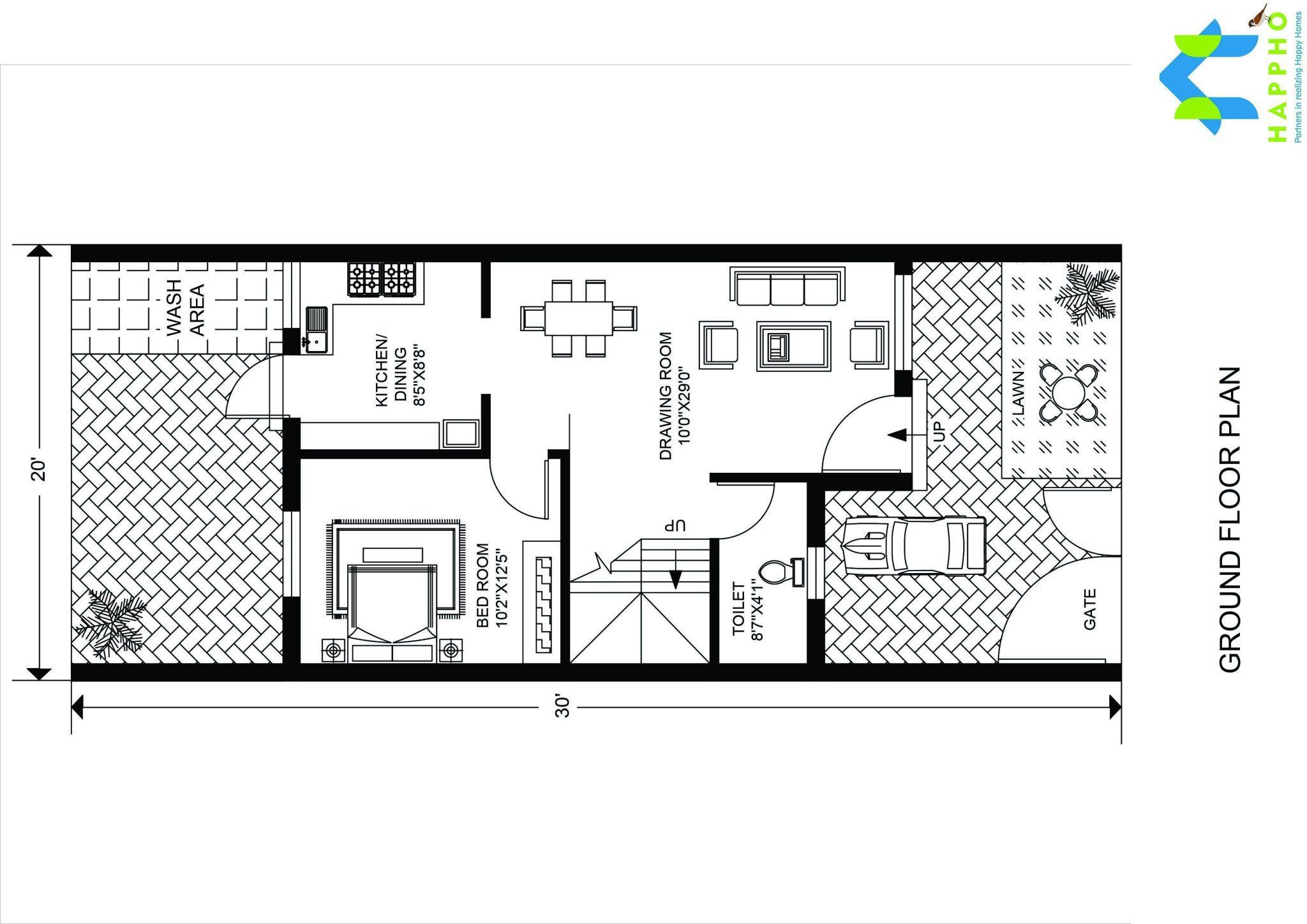 3 Bhk Floor Plan For 30 X 20 Feet Plot 600 Square Feet