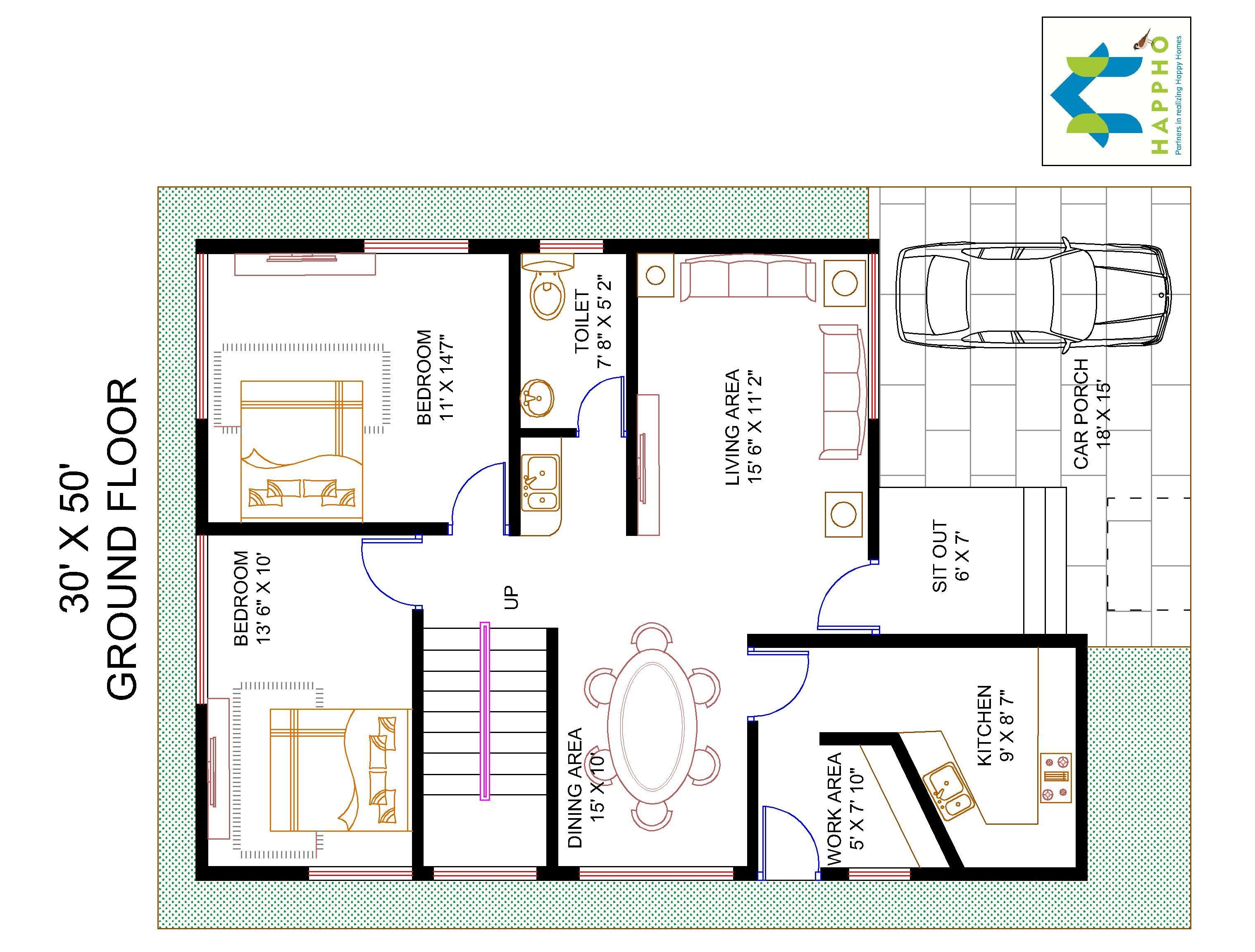 Floor plan for 30 x 50 plot 4 bhk 1500 square feet 166 for 1500 sq ft duplex house plans