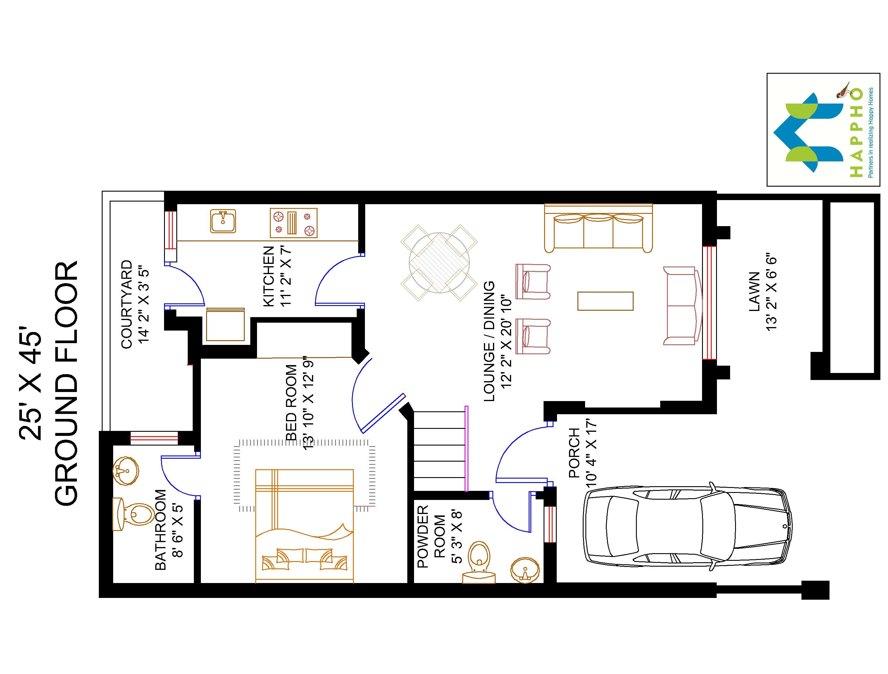 Bath Duplex Floor Plans Floor Plan For 25 X 45 Feet Plot 3 Bhk 1125 Square Feet