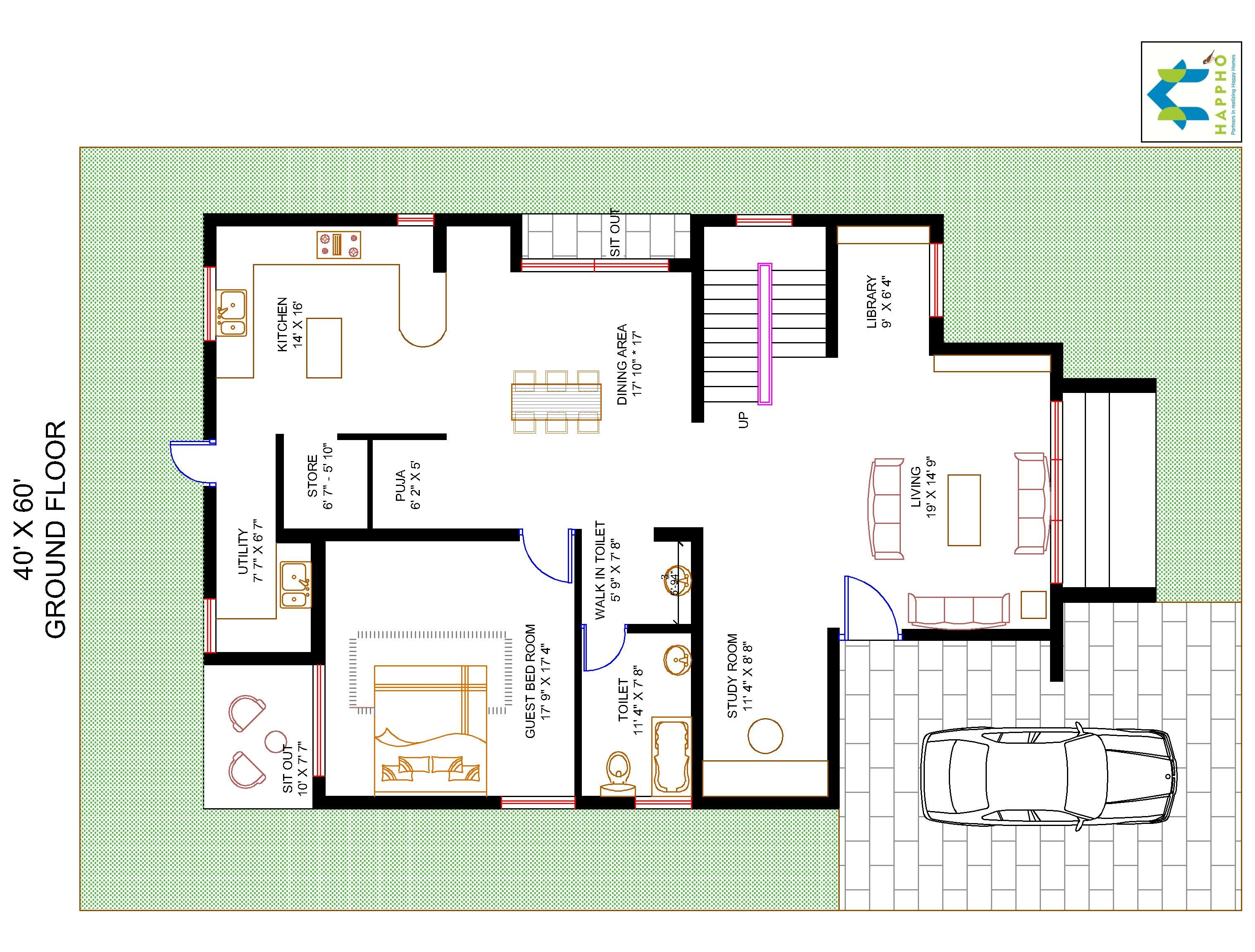 40 60 House Floor Plans: 3-BHK (2400 Square Feet/266