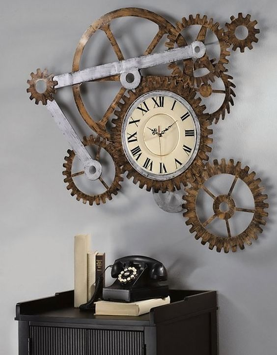 Chellis Gear And Pinion Shaped Wall Clock Design