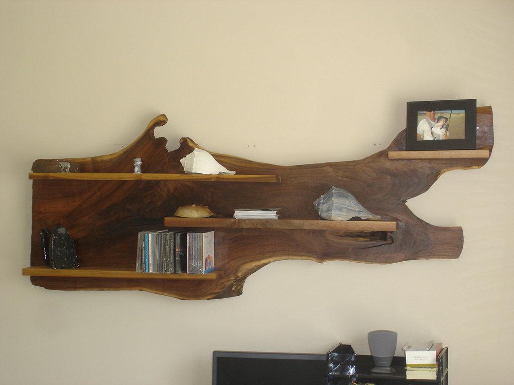 unique stump wood wall shelves design