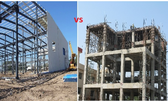 steel structure vs rcc  concrete  structure buildings