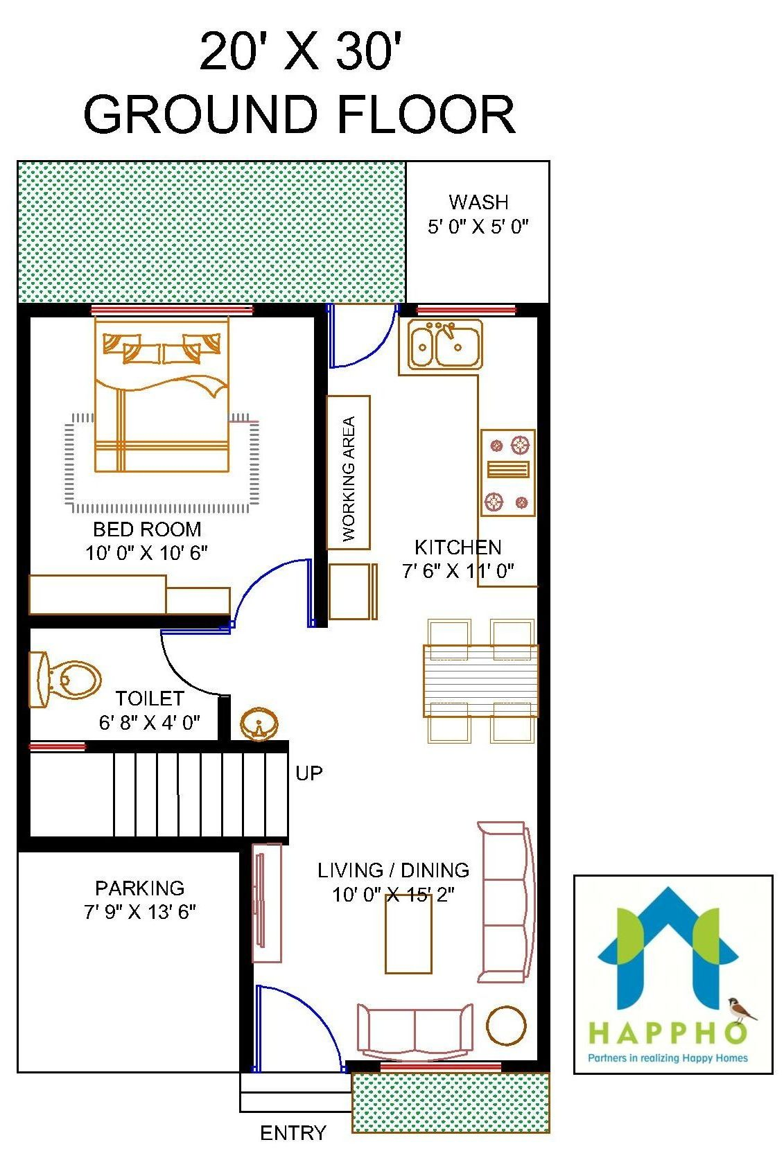 Floor Plan for 20 X 30 Feet Plot | 1-BHK (600 Square Feet/67 ... on small square house plans, small cape cod house plans, 700 square ft cabin plans, tiny house plans, 600 sq ft cabin plans, 20 by 40 house plans, 600 sq.feet floor plans, 850 sq ft cabin plans, 600 sq ft apartment plans, 400 ft studio plans, barn garage with roof plans, 400 sf house plans, new orleans shotgun style house plans, non split bedroom house plans, 20 by 30 house plans, 300 sq ft studio plans, 20000 house plans, 200 sq ft cabin plans, 600 s.f. house plans, 600 sf home floor plans,