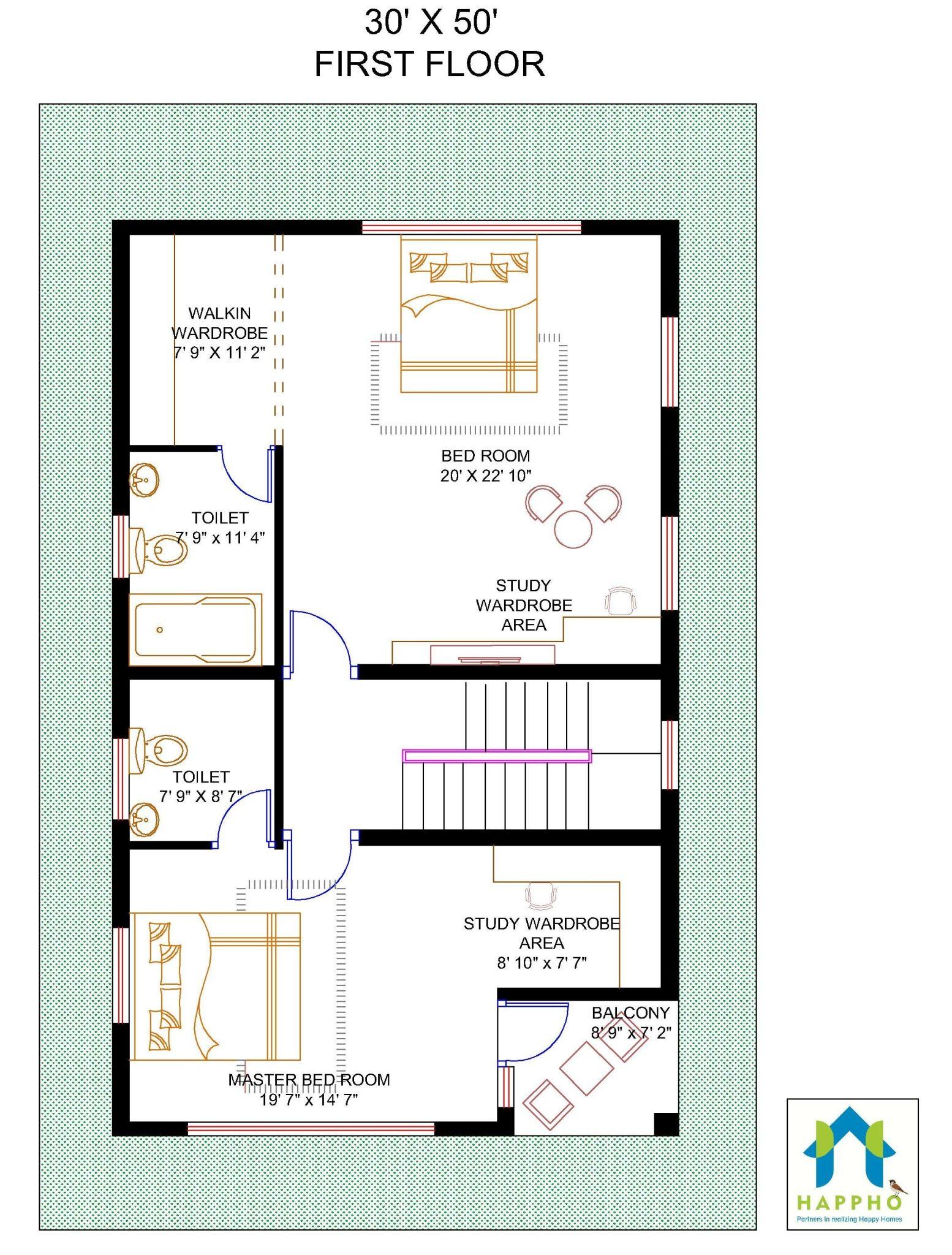 First Floor Plan 1500 Square Feet 50feet X 30 166 67