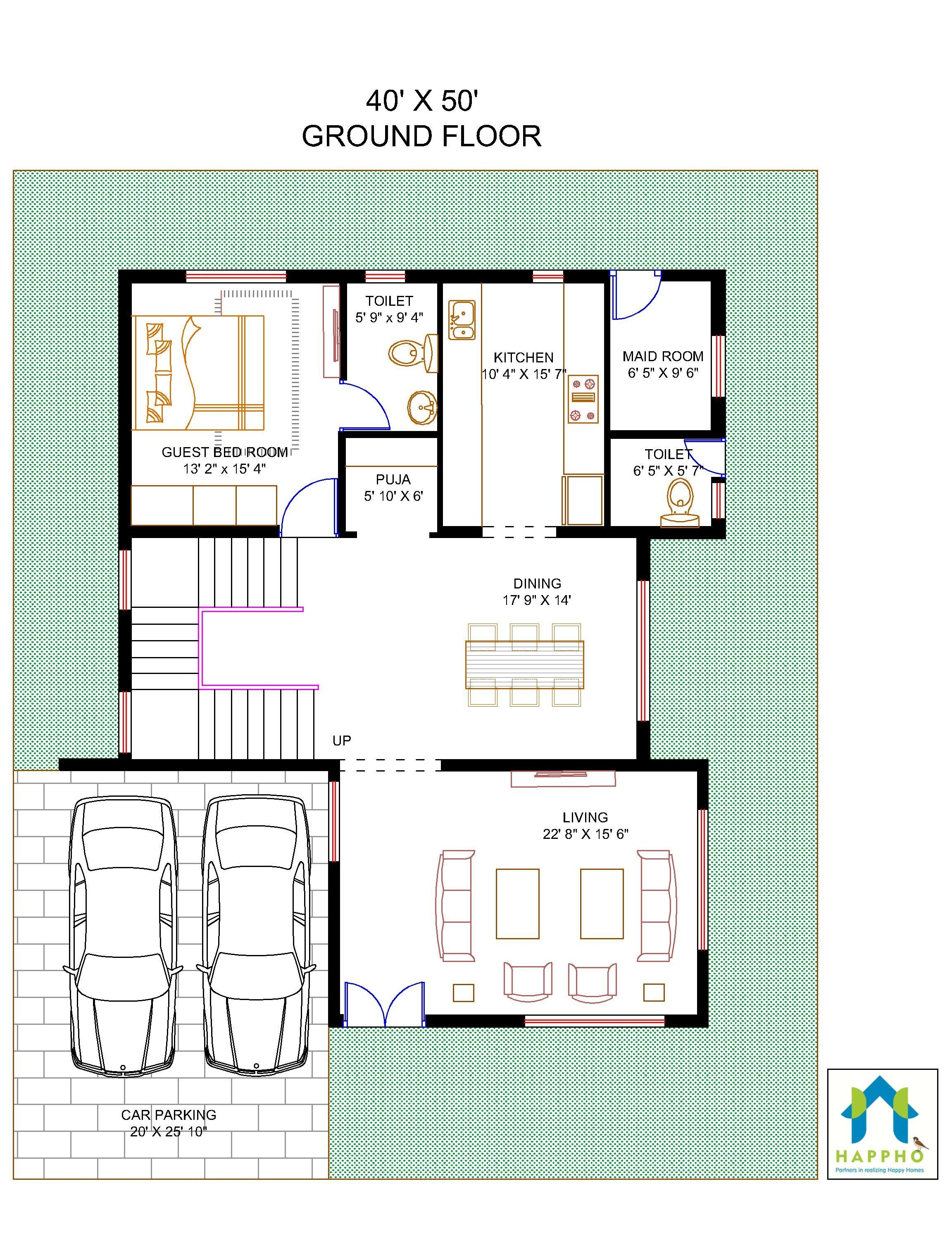 Floor Plan For 40 X 50 Plot 3 Bhk 2000 Square Feet222 Sq