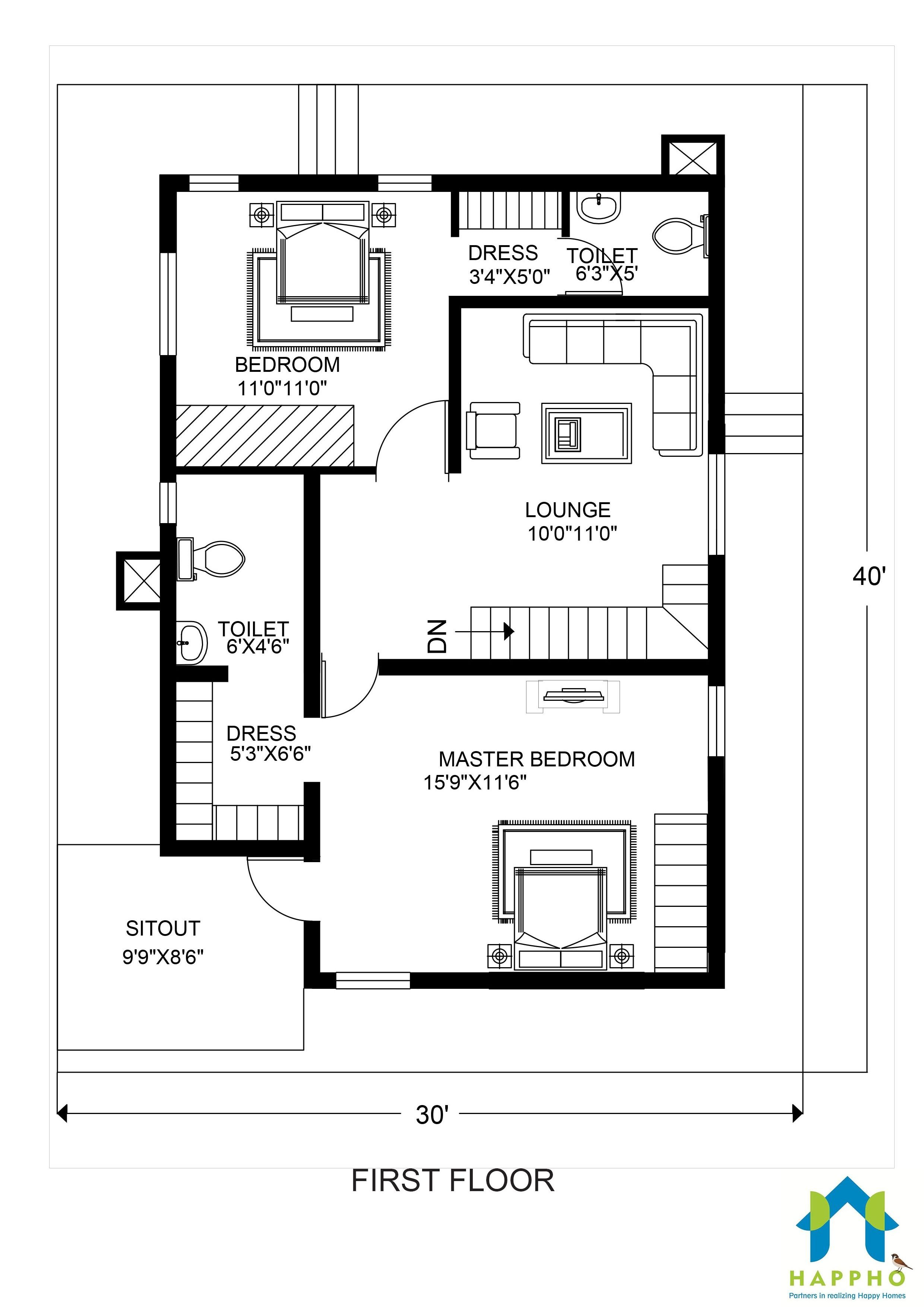 30-40duplex-FIRST-e1537968609174  Sq Ft House Plans One Bedroom on 900 square foot 1 bedroom house plans, cape cod house plans, 1100 square feet house plans, 2 bedroom house plans,