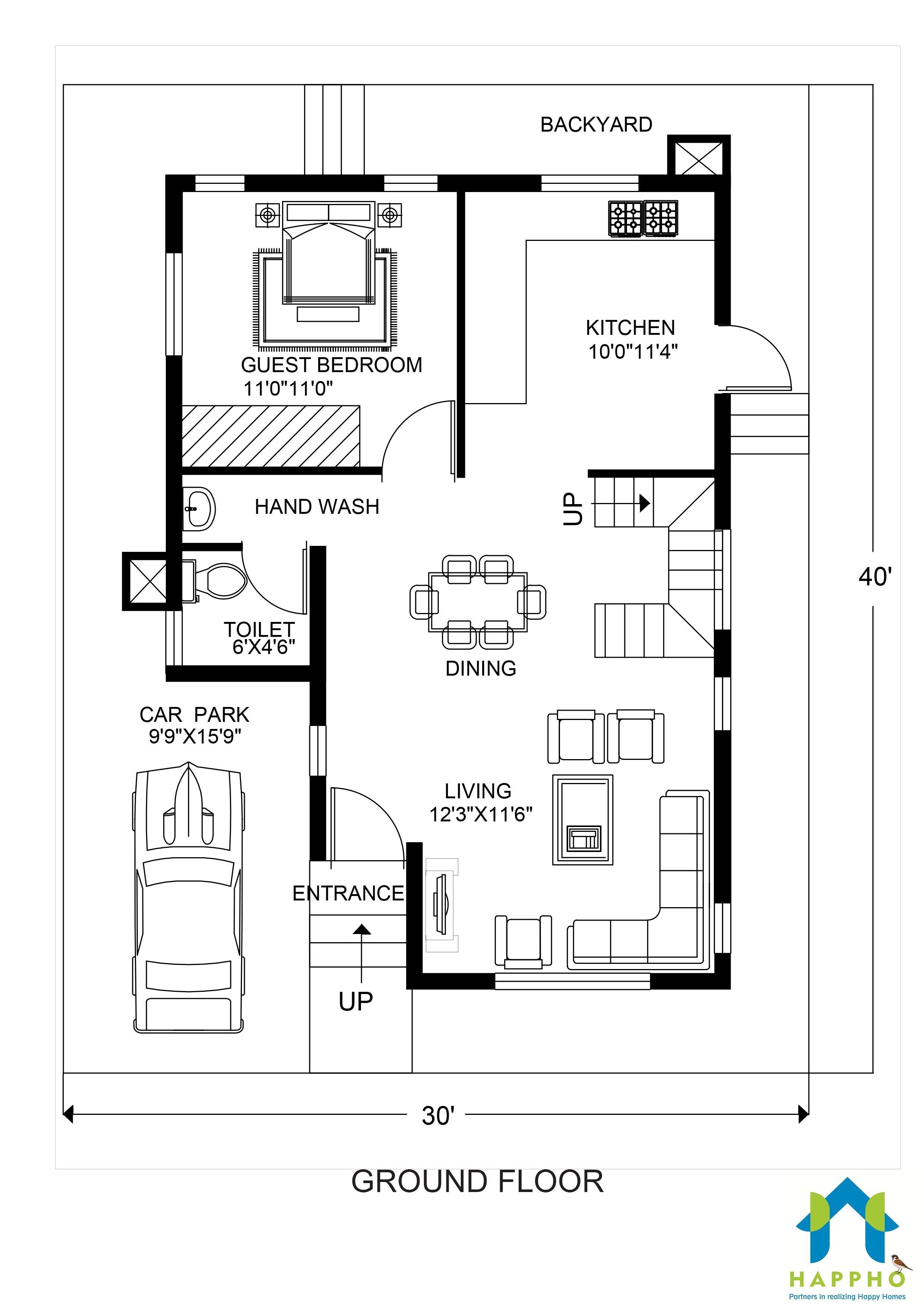 Floor Plan For 30 X 40 Feet Plot 3 Bhk 1200 Square Feet
