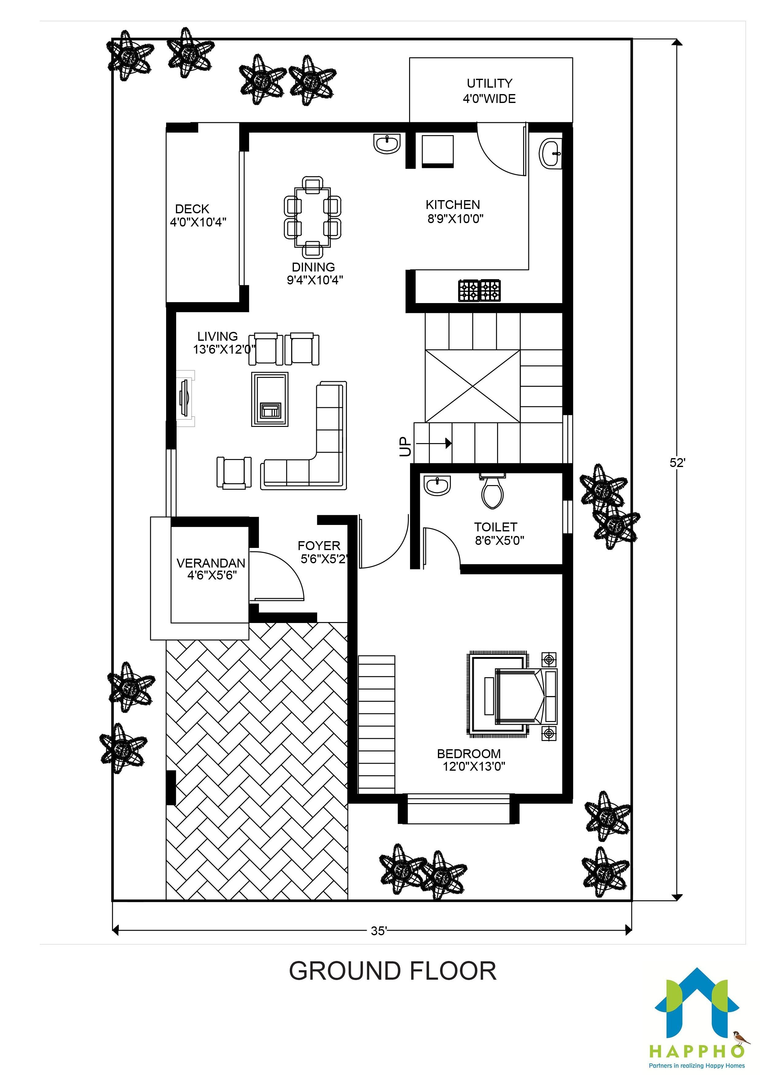 Floor Plan For 30 X 50 Feet Plot 3 Bhk 1500 Square Feet