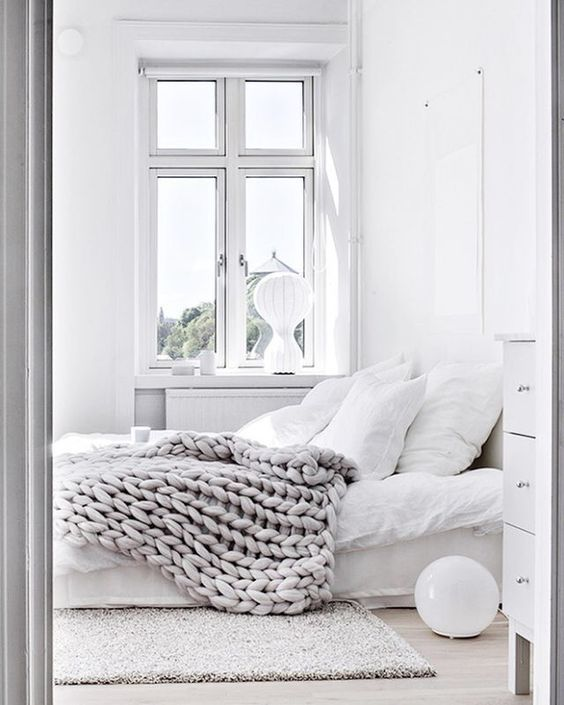 Bedroom Interiors In White And Grey