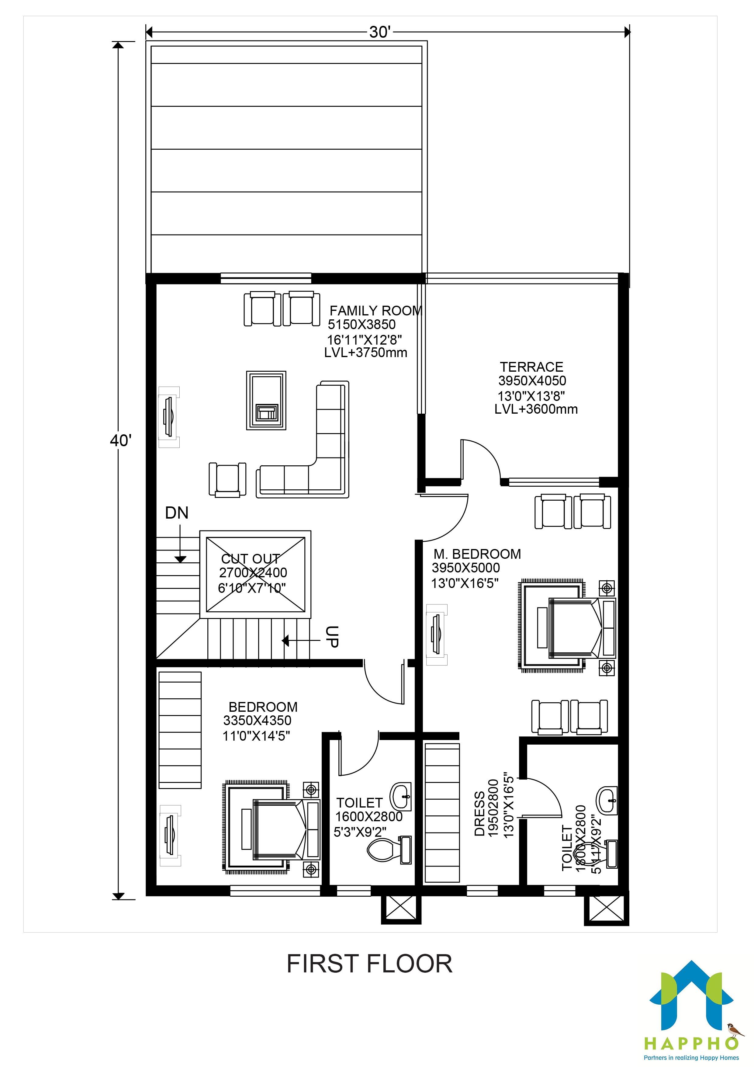Floor Plan for 30 X 40 Feet Plot | 3-BHK (1200 Square Feet