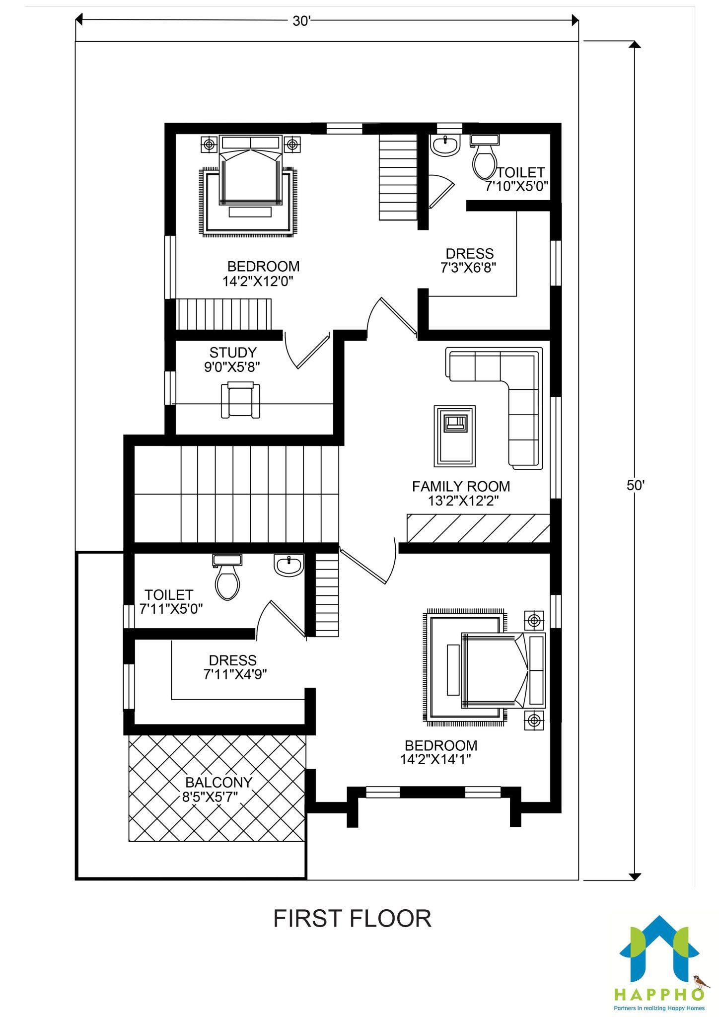 Floor Plan For 30 X 50 Feet Plot 3 Bhk 1500 Square Feet 167 Sq