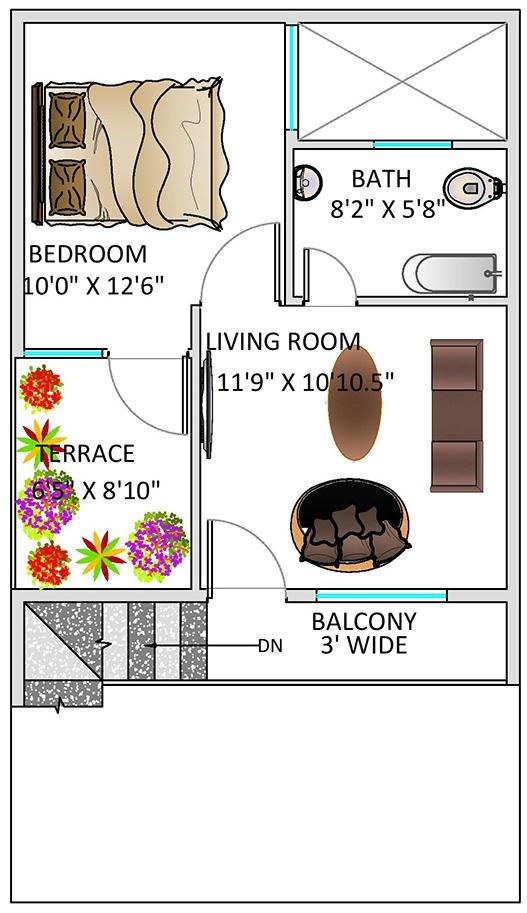 Floor Plan for 20 x 35 Feet Plot   2-BHK (700 Square Feet ...