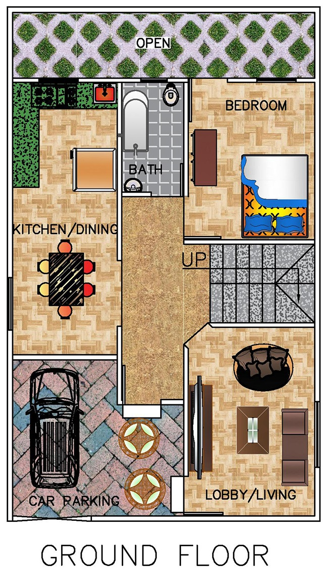 Floor Plan for 25 X 40 Plot | 3-BHK (1000 Square Feet/111