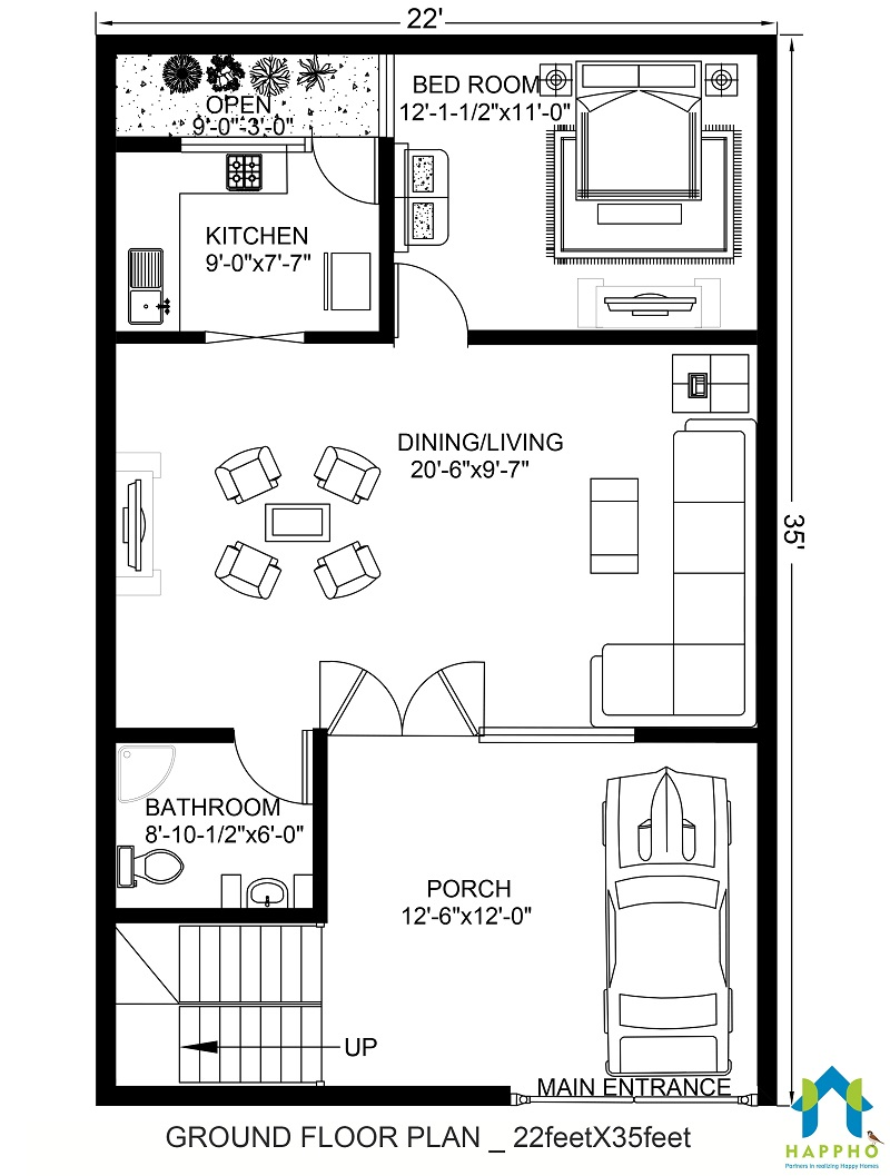 Floor Plan for 22 X 35 Feet Plot   2-BHK (770 Square Feet ... on kerala 3 bedroom house plans, villa house plans, contemporary house plans, 40 x 60 home plans, 40x50 metal building house plans, dreams house plans, 30 x 40 house plans, east facing house plans, feng shui house plans, art house plans, love house plans, construction house plans, 40x60 metal garage floor plans, exterior house plans, sq ft. house plans, blueprint construction plans, living off the grid house plans, small 3-bedroom duplex house plans, yoga house plans,