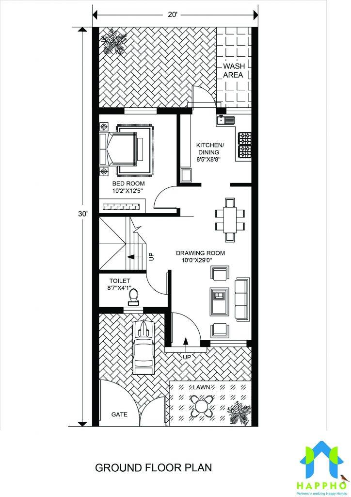Floor Plan For 20 X 30 Feet Plot 3 Bhk 600 Square Feet67