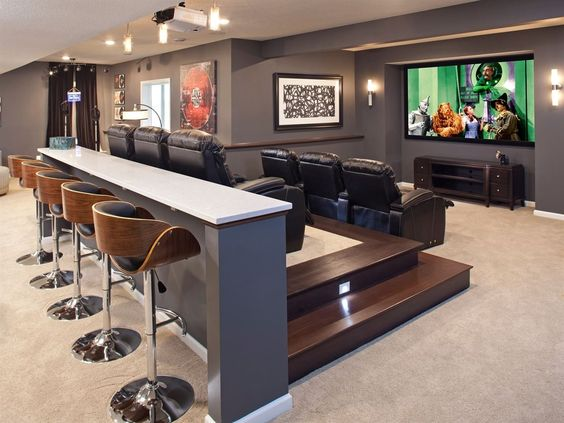 A Home Theatre with Bar table and Bar Stools