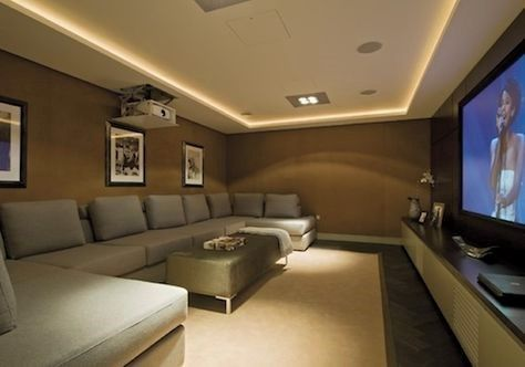 A movie theatre inside a house