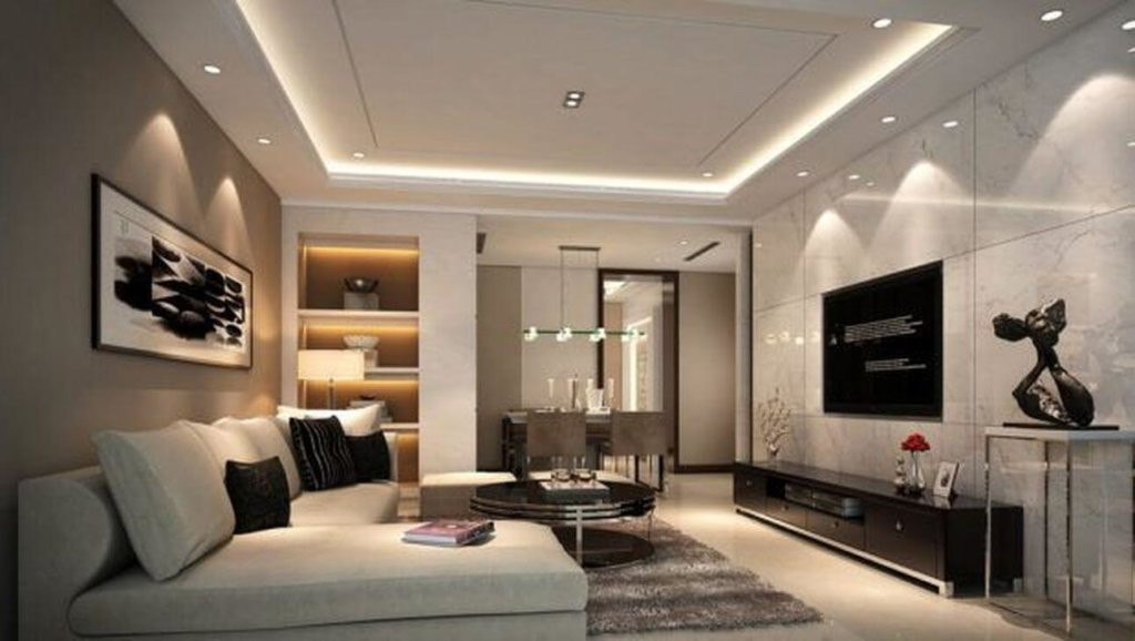 A simple and an elegant false ceiling design in living room