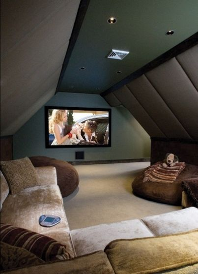 Entertainment Den with Sofas and TV in Attic