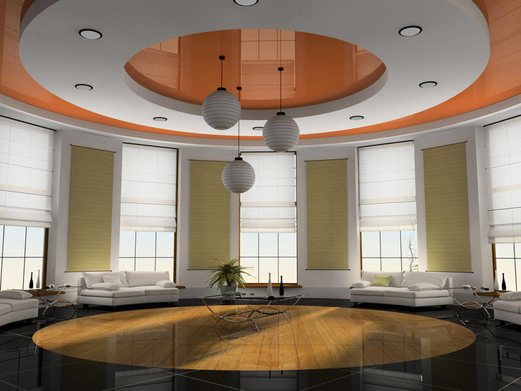 Round shaped false ceiling design in lobby area