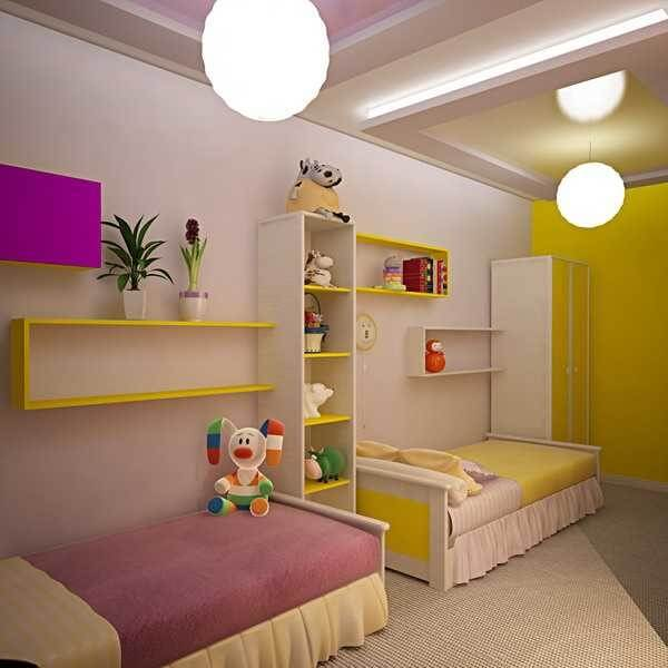 2 single beds attached with the wall in different colors in a bedroom