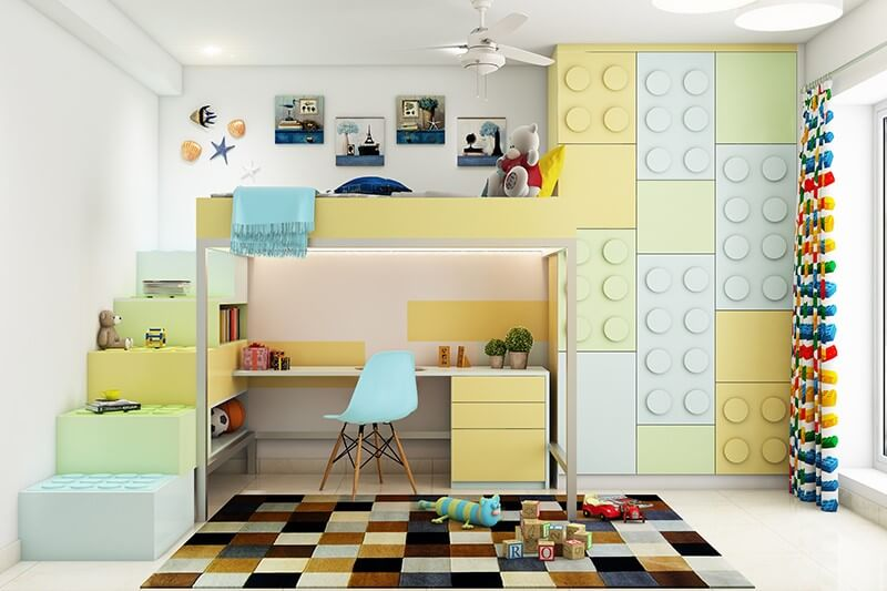 A bunk bed with lego shaped storage and study table below