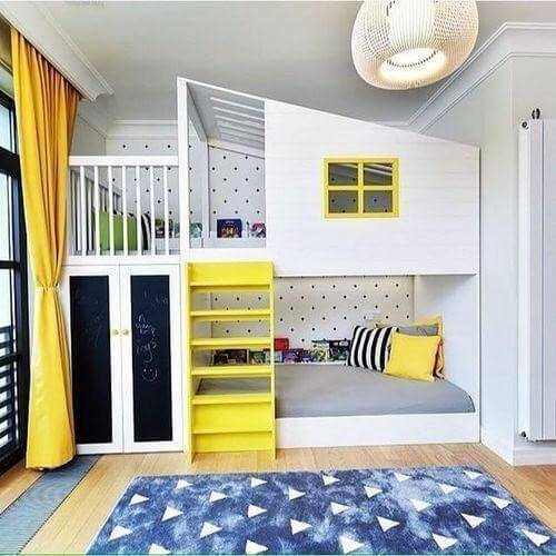 Bunk Bed with a house like structure made on the top