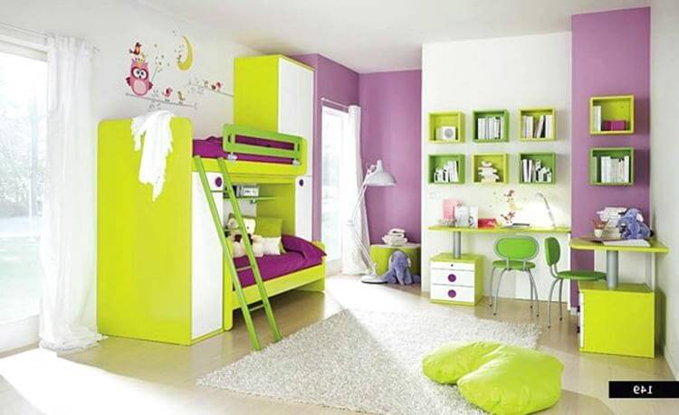Kids room designed in pink, yellow and white to make it more colourful