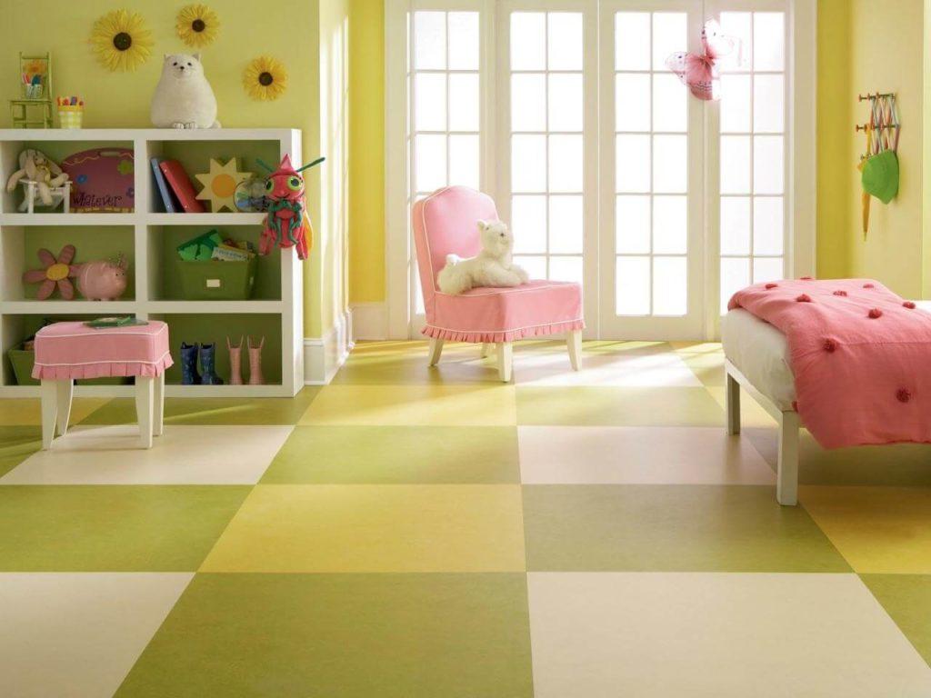 Multi colored vinyl flooring in kids room