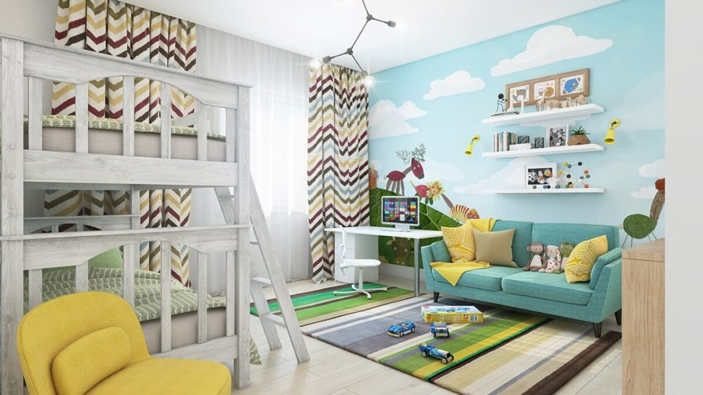 Sky design print with cartoons printed on the wall